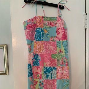 Lilly Pulitzer tropical quilt print midi dress